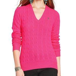 RALPH LAUREN Sport Pink Cable Knit V-Neck Sweater